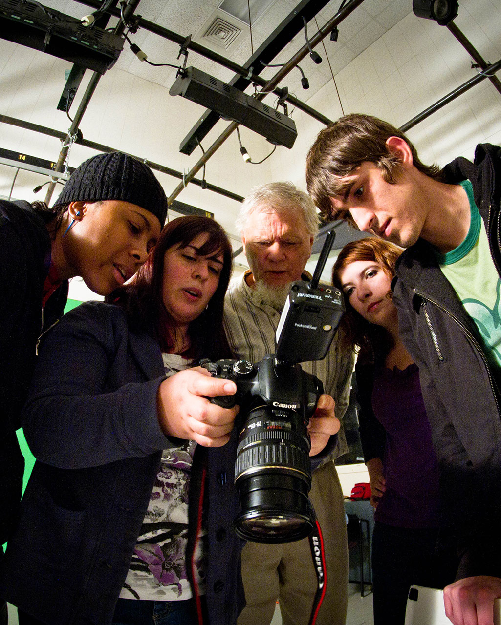 Media Design Students learning photography at Wilmington University